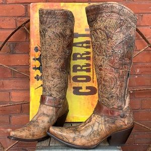CORRAL NEW Tall Knee High Harness Western Boots 10